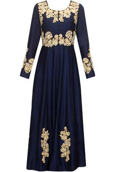 Navy zardozi and tiki embroidered anarkali set  by Aneesh Aggarwal. Shop now: www.perniaspopupshop.com. #anarkali #aneeshaggarwal #embroidered #clothing #shopnow #perniaspopupshop #happyshopping
