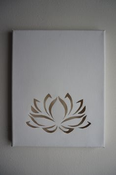 Lotus flower cutout on blank canvas