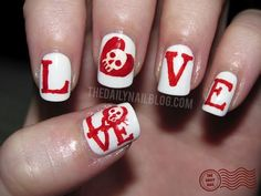 Get Inspired Valentine's Day Nail Art Ideas red white love skull heart nails