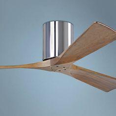 "52"" Matthews Irene 3-Blade Walnut-Chrome Hugger Ceiling Fan - #7C857 | Lamps Plus"
