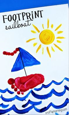 Footprint Sailboat Craft for Kids to Make - Crafty Morning - Footprint sailboat, Bild Fußabdruck Schiff You are in the right place about painting crafts Here w - Kids Crafts, Daycare Crafts, Crafts For Kids To Make, Cute Crafts, Toddler Crafts, Projects For Kids, Art For Kids, Summer Crafts For Toddlers, Infant Art Projects