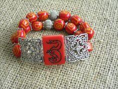 Double Strand Red Mahjong Bracelet - Dragon Bracelet - Game of Thrones Dragon by MahjongJewelry on Etsy