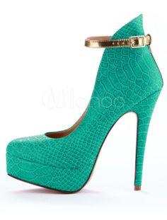 Chaussures spéciales vertes à talons hauts et bout amande en PU détail motif serpent avec bracelet - Milanoo.com
