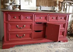 Red Distressed Buffet with Walnut Stained Top by noteworthyhome