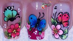 Orchid Nails, Flower Nails, Flower Nail Designs, Colorful Nail Designs, Good Night Qoutes, Merry Christmas Gif, Diy Acrylic Nails, Nail Art Designs Videos, Butterfly Nail