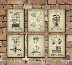 Tesla Patent Prints - Nikola Tesla Engineering Invention Patent - Tesla Motors - Tesla Coil Generator - Electric Circuit Poster Set Of 6