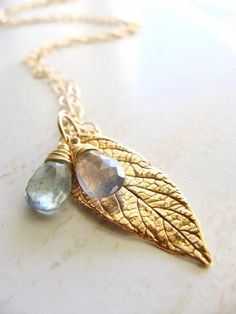 Gold Leaf Necklace Labradorite Necklace Moss by beachjewels72