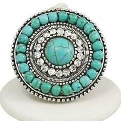 Turquoise Ring with Rhinestones #fashion #accessories #yesplease
