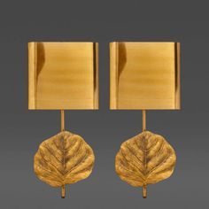 Pair of Signed Bronze Leaf Sconces, Maison Charles, France, c. 1970s by Maison Charles