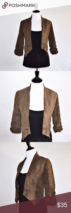 """EUC Brown Boutique 3/4 Sleeve Jacket/Vest Brown Boutique 3/4 Sleeve Jacket/Vest Self: 65% Cotton / 35% Polyester Contrast: 100% Polyester  EUC. Great jacket or vest to throw over a plain black or white top and dress up your outfit. Looks good over dresses as well. Tag says size medium but it fits more like a small, possibly small-medium. No rips or stains. Black cami not included.  Measurements Medium-Chest:16"""" across / 32"""" around, Length:17-20"""", Sleeve Length:6""""  🔆Bundle 2 items = 10% OFF…"""