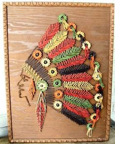 Indian Head Feathered Headdress Depicted in Colorful String Art on Wood~Large