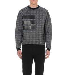 VERSACE - Herringbone leather-panel knitted jumper | Selfridges.com