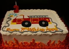 Kids 3rd birthday Firetruck cake