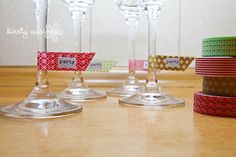 Glass savers using washi tape - stop those drink burgling ninjas from swiping your champers at parties