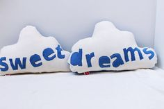 sweet dreams cloud pillows set, childrens room decor, cloud cushions baby bedding, baby boy nursery ideas, baby shower gift, couples wedding