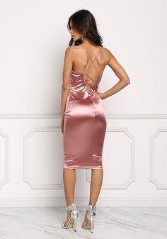 Mauve Satin Cross Strap Plunge Bodycon Dress - Going Out - Dresses MARINA BAKKER