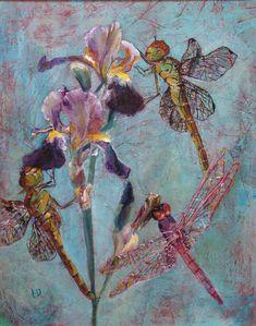 Dragonfly Dream II.   Acrylic Figurative Flower Painting   Iris  Original Acrylic Painting   Dora Stork   Encaustic Artist Acrylic Painting Techniques, Acrylic Paintings, Dragonfly Painting, Angel Wings Art, Insect Art, Feather Art, Dragon Flies, Stork, Figurative