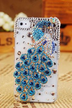 Cool Awesome iPhone 4 4S 4G case blue peacock crystals bling case cover for girls