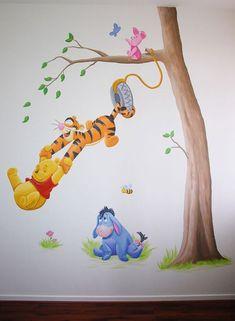 Winnie the Pooh, Knorretje, Tijgertje en Iejoor wanddecoratie voor in de kinderkamer. Geschilderd door BIM Muurschildering, kan naar wens aangepast worden.