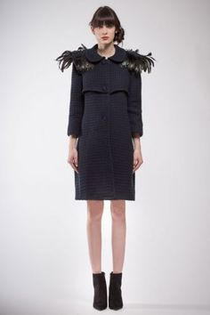 Dark blue textured coat with blue and various reflections feathers