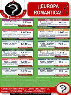 ¡¡EUROPA ROMÁNTICA!!  ¡¡¡OFERTA DE ANIVERSARIO¡¡¡¡ Llámanos: 6363-6851 ó Escríbenos: roma@romaagenciadeviajes.com Visitamos en: Av. Cuauhtemoc 179 A Colonia Roma, Mex D.F O Checa nuestra pagina web: www.romaagenciadeviajes.com en donde podrás reservar y pagar las 24 horas del dia y a meses con tarjetas participantes