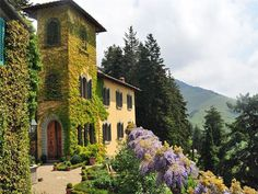 This gorgeous home, referred to as Villa Flore , is located in the heart of Tuscany. I think I could get used to those views of the Arno Valley and hills of the Chianti region.
