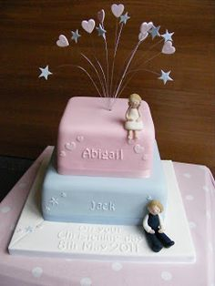 Cakes By Karen: Christening cake for a Boy and Girl