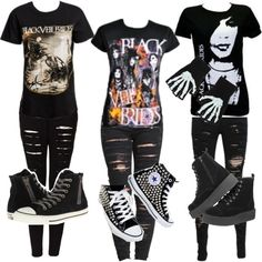 Black Veil Brides by jamkelly on Polyvore featuring polyvore fashion style BLANKNYC The Ragged Priest T.U.K. Converse