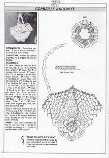 crochet - miniatures et dorures - 闽女爱越 - Picasa Webalbumok Crochet Bowl, Crochet Chart, Filet Crochet, Crochet Stitches, Crochet Patterns, Russian Crochet, Irish Crochet, Crochet Fairy, Baptism Gifts