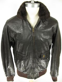 Vtg Golden Bear USA G 1 Leather Goatskin Real Fur Pilot Bomber Jacket 42 L. Find more men's and women's authentic vintage clothing at The Clothing Vault.