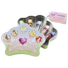 Lip Smacker Disney Princess Crown Tin Box - 5 Piece by Lip Smacker -- Awesome products selected by Anna Churchill Tin Boxes, Princesas Disney, Lip Balm, Lips, Disney Princess, Churchill, Vanities, Collection, Anna