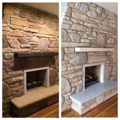 White washed stone fireplace using Annie Sloan chalk paint. Buy Annie Sloan Chalk Paint® from local stockist Brenda Brown @ Annex of paredown in Ann, Arbor Whitewash Stone Fireplace, Sandstone Fireplace, Stone Fireplace Makeover, Fireplace Update, Paint Fireplace, Home Fireplace, Fireplace Remodel, Brick Fireplace, Fireplace Ideas