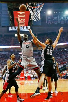 Houston Rockets center Clint Capela (15) battles San Antonio Spurs center Pau Gasol (16) during the first half of Game 3 of the second round of the Western Conference NBA playoffs at the Toyota Center, Sunday, May 7, 2017, in Houston. ( Karen Warren / Houston Chronicle ) Photo: Karen Warren/Houston Chronicle
