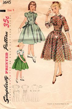 1950s Simplicity 3645 Vintage Sewing Pattern by midvalecottage
