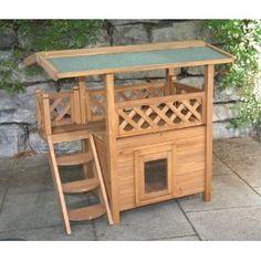Wooden Outdoor Cat Pet House Shelter Cabin Lodge with Swing Door & Transparent Flap:Pet Supplies