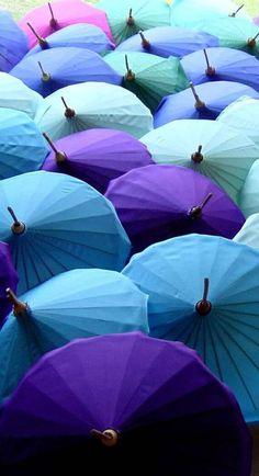 Parasols - Aqua and Purple
