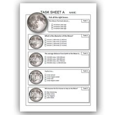 MOON task sheets List Of Resources, Teacher Resources, Solar System Worksheets, Teacher Helper, Moon, Ads, Teaching, Education, The Moon