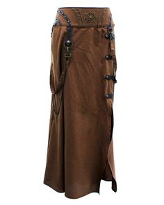 EW-106 - Brown Steampunk Style Skirt with Intricate Detailing | eBay