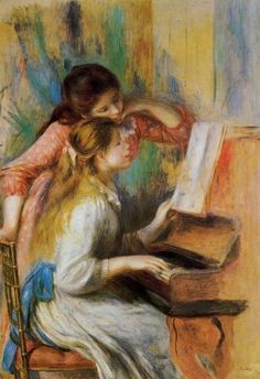 """Reproduction of Renoir's """"Girls at the Piano""""  A framed jigsaw puzzle of this image has hung in my Mom's house since my childhood."""