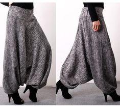 Women's Pant's Korean Tide Linen Loose Large Size Natural Waist Ankle-lenght for Autumn Sarouel Pants, Cotton Harem Pants, Skirt Pants, Harem Pants Outfit, Fashion Pants, Boho Fashion, Fashion Outfits, Fashion Details, Mode Mori