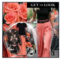 """""""Get the Look - Coral Wide Leg Pants Outfit"""" by helenehrenhofer ❤ liked on Polyvore featuring Prada, Trilogy, Alice + Olivia, T By Alexander Wang, Roberto Cavalli, Giuseppe Zanotti, Dolce&Gabbana, Eddie Borgo and Kenneth Jay Lane"""