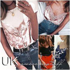 UK Womens Plunge Camisole Top Ladies Strappy Leotard Lace Velvet Vest Size 6-12
