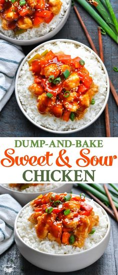 This Dump-and-Bake Sweet and Sour Chicken is a lighter, healthier version of the Chinese food classic -- with just 10 minutes of prep! Chicken Breast Recipes Healthy, Easy Healthy Recipes, Easy Dinner Recipes, Asian Recipes, Mexican Food Recipes, Chicken Recipes, Easy Meals, Easy Chinese Food Recipes, Easy Chicken Breast Dinner