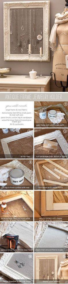 DIY Antique Frame Jewelry Holder | Click Pic for 20 Dollar Store Crafts for Home Decor Ideas for Cheap | DIY Home Decor Hacks Tips and Tricks #homedecorhacksdiy #diyhomedecor