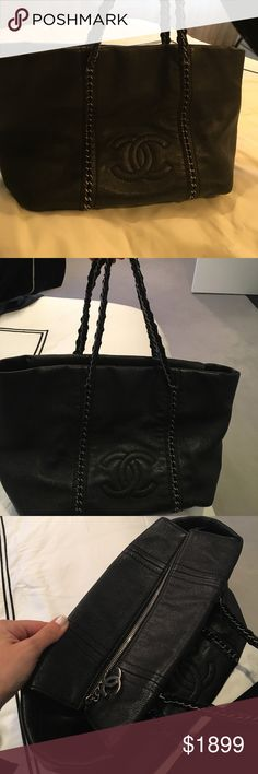 Chanel handbag Chanel black tote with zipper closure ... chain detailing  through bag to 360be29879