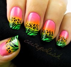 Neon animal print nail art design #cutepolish