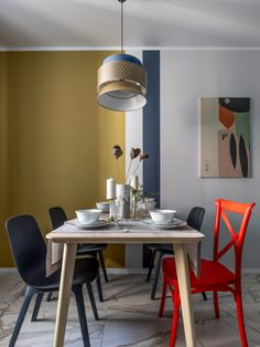Amenajare modernă și colorată pentru o garsonieră de 44 m² din Samara, Rusia | Jurnal de Design Interior Samara, Custom Homes, Dining Table, Dining Rooms, Minimalism, Conference Room, Shabby Chic, Modern, House