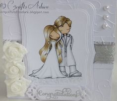 "Handmade Card Tiddly Inks ""You and Me"" coloured with Spectrum Noir pens, perfect for a wedding or anniversary congratulations card"