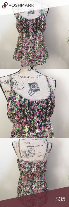 """Beautiful Spaghetti Strap Living Doll Top, EUC Beautiful Floral Multi Color Spaghetti Strap Living Doll Top, Size Medium, Bust 18"""", Length 26"""", 100% Polyester,EUC living doll Tops Blouses"""