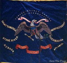 Regimental Battle Flag of the Ninth Michigan Infantry.  The Ninth Michigan Infantry was organized in Detroit and mustered into service October 15, 1861. It was the first Michigan regiment assigned to the Army of the Ohio.  Michigan State Capitol Collection.